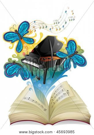 Illustration of a musical book on a white background