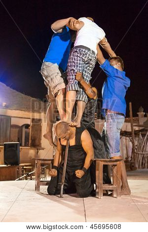 HURGHADA, EGYPT - APR 16: Unidentified people at performance called