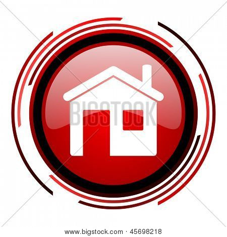 home red circle web glossy icon on white background