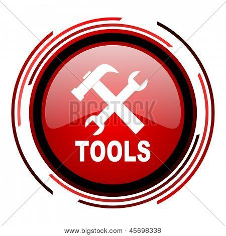 tools red circle web glossy icon on white background
