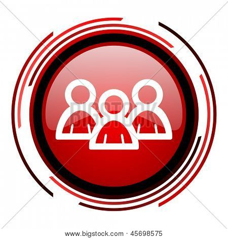 forum red circle web glossy icon on white background