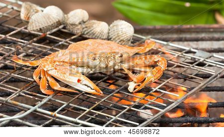 Grilled Sea Crab On The Grill