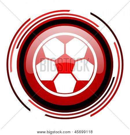 soccer red circle web glossy icon on white background