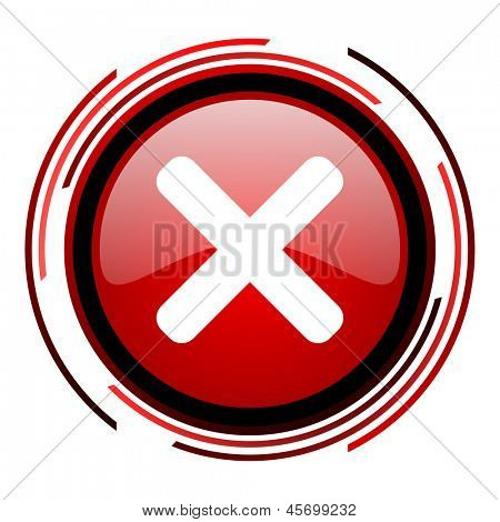 cancel red circle web glossy icon on white background