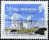 A stamp printed in Bermuda dedicated to 30th anniversary of first manned moon landing