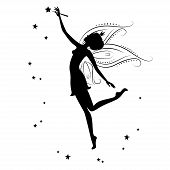 stock photo of fairies  - Beautiful fairy silhouette - JPG