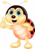 stock photo of ladybug  - Vector illustration of Cute ladybug cartoon thumb up - JPG