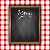 Chalkboard menu design on a gingham patterned background
