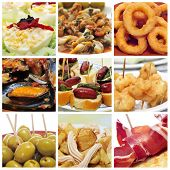picture of squid  - a collage of nine pictures of different spanish tapas - JPG