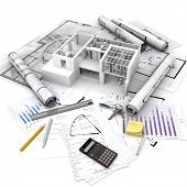 Office building with open interior on top of blueprints, documents and mortgage calculations