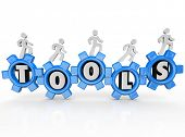 A team of men or workers turns gears with the word Tools inside them to illustrate working together