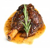 Lamb shank braised in an onion jus.