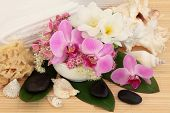 stock photo of meadowsweet  - Spa massage accessories with orchid - JPG