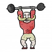 cartoon circus strong man lifting weights