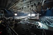 MOSCOW - APR 4: Hall with podium and rows of chairs in Gostiny Dvor during Volvo Fashion Week, April