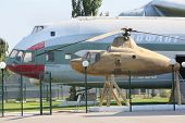 MOSCOW - AUGUST 2: Cargo helicopter V-12 (Mi-12) and helicopter - Mi-1 near Helicopter Plant named M