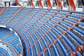 MADRID - MAR 8: Blue grandstand in Santiago Bernabeu Stadium - arena of soccer club Real Madrid, Mar