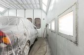 MOSCOW - SEP 21: Preparing the car for painting on body shop Avtostandart on September 21, 2012 in M