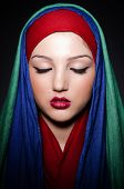 stock photo of burka  - Muslim woman with headscarf in fashion concept - JPG