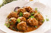 stock photo of meatballs  - meatballs in the sauce - JPG