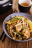stock photo of lo mein  - stir fried noodles with chicken - JPG