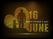 Happy Fathers Day concept for flyer, banner or poster with image of a father holding his child hand