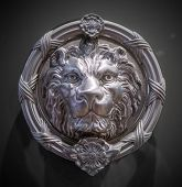 Metal lion head on the door