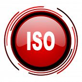 iso red circle web glossy icon on white background