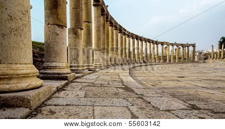 Ancient Greek And Roman Columns In Jerash, Jordan