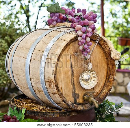 Barrel Of Wine With Grape Cones