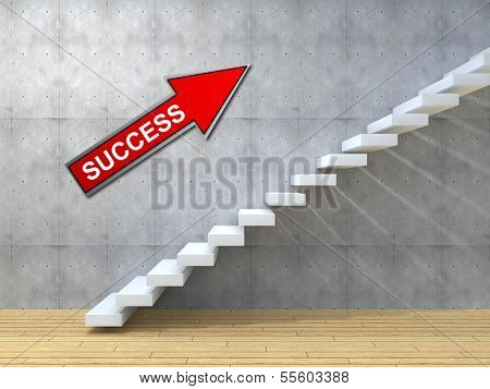 Concept or conceptual white stone or concrete stair or steps near a wall and arrow background with wood floor