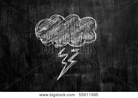 Chalk Drawing Of Thundercloud On Blackboard