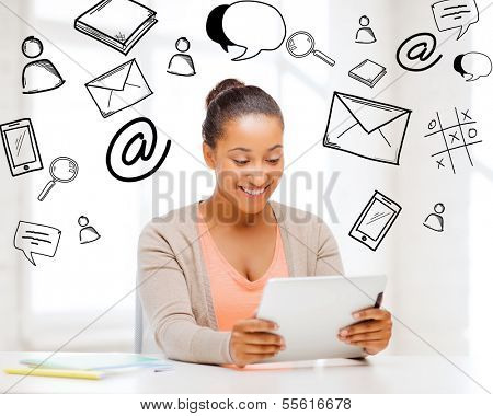 business and education concept - smiling student girl with tablet pc