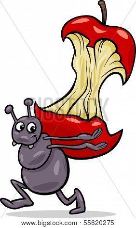 Ant With Apple Core Cartoon Illustration
