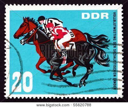 Postage Stamp Gdr 1967 Horse Race Finish