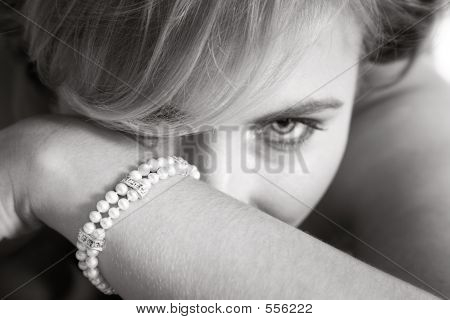 Bride Looking Fro Behind Her Arm