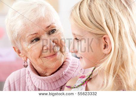 Grandma And Granddaughter Closeup
