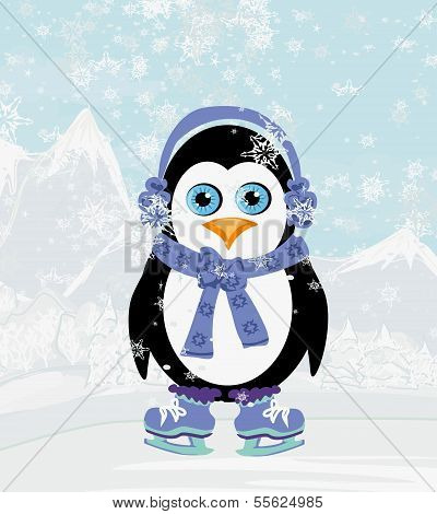Illustration Of Cute Penguin Ice Skates