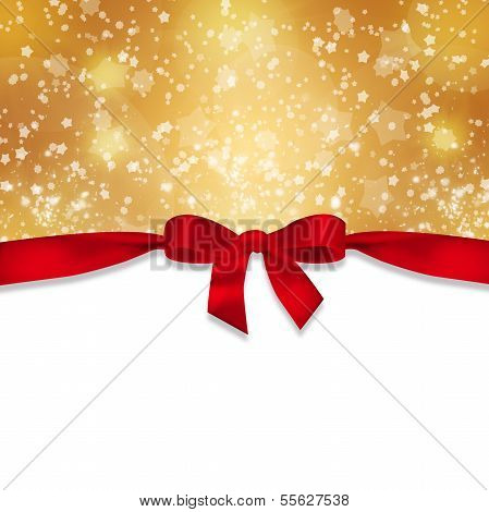 Red ribbon and snowflakes