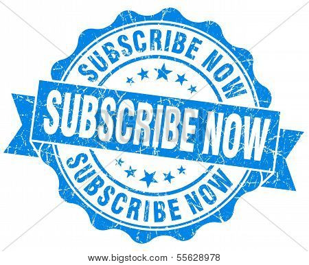 Subscribe Now Grunge Blue Vintage Round Isolated Seal