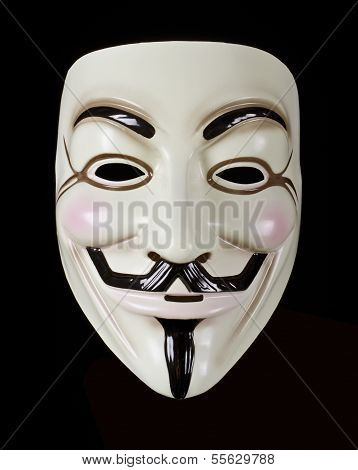 V for Vendetta mask isolated on black