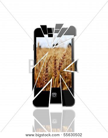 Modern Smartphone With Splinters