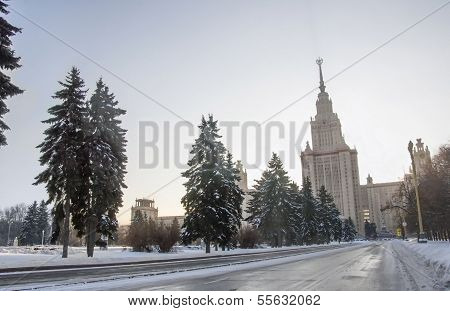 Winter road to Moscow university.