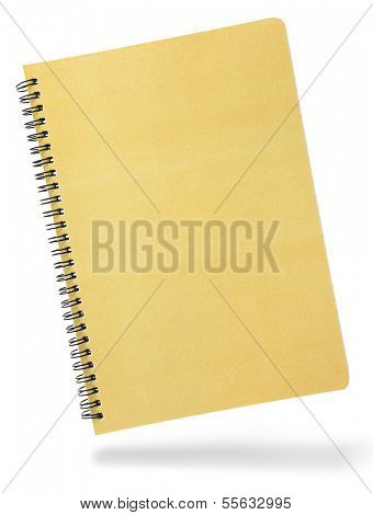 Notebook front cover with spiral isolated on white