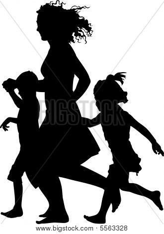 Mother with children running Mother And 3 Children Silhouette