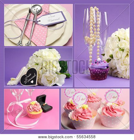 Wedding Collage Of Five Images Wiith Pink And Purple Theme Cupcakes, Table Settings, White Roses Bou