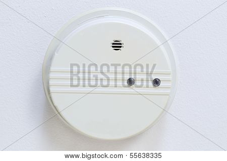 Home Smoke Detector Mounted On Ceiling
