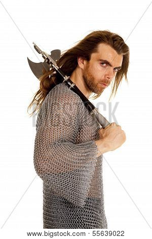 Man Chain Mail Axe Over Shoulder Side