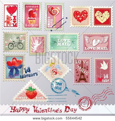 Set Of Vintage Post Stamps With Hearts For Valentines Day Design.