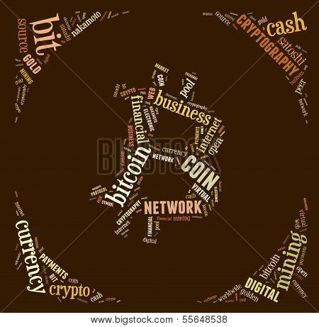 Bitcoin Logo Word Cloud With Brown Wordings